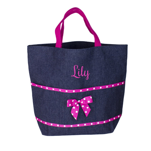 Embroidered Pink Denim Tote
