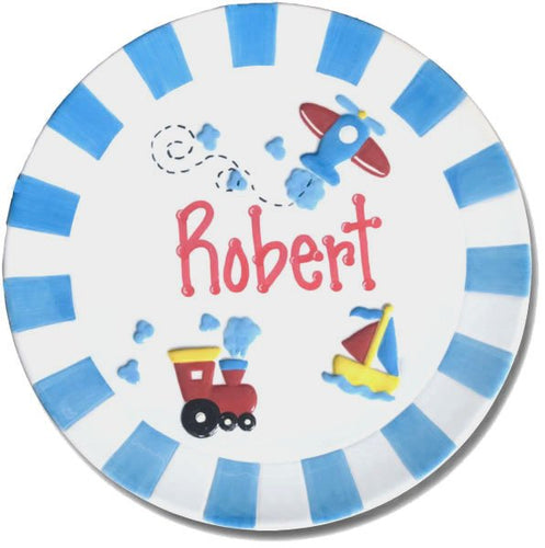 Personalized Ceramic Boy's Transportation Plate