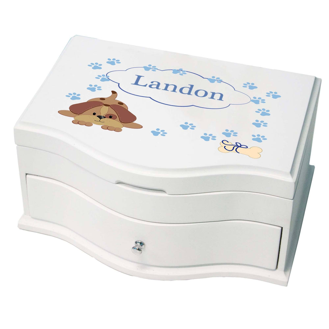 Princess Girls Jewelry Box with Blue Puppy design