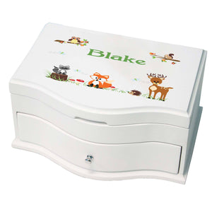 Princess Girls Jewelry Box with Green Forest Animal design