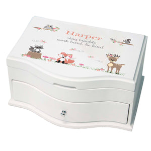 Princess Girls Jewelry Box with Gray Woodland Critters design