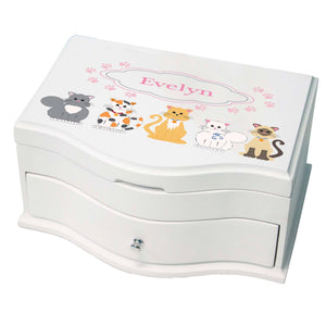 Princess Girls Jewelry Box with Pink Cats design