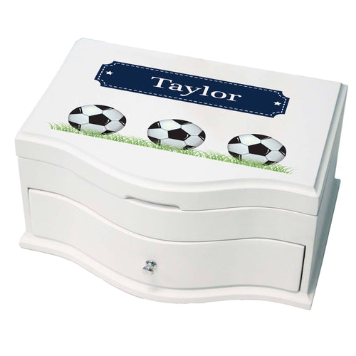 Princess Girls Jewelry Box with Soccer Balls design