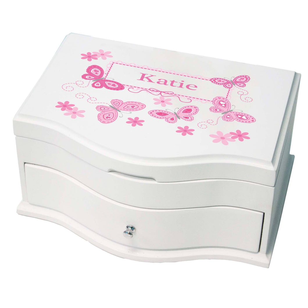 Princess Girls Jewelry Box with Butterflies Pink design
