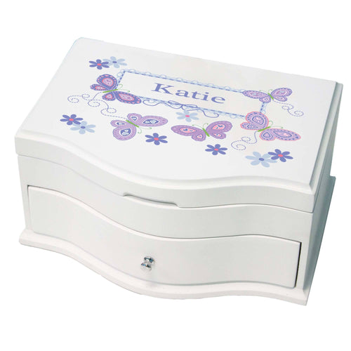 Princess Girls Jewelry Box with Butterflies Lavender design