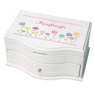 Princess Girls Jewelry Box with Stemmed Flowers design