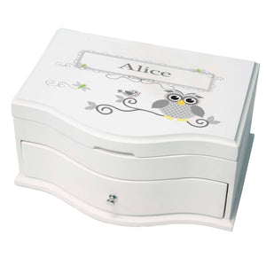 Princess Girls Jewelry Box with Gray Owl design