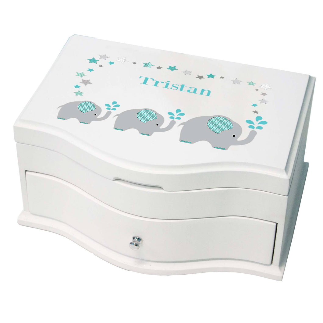 Princess Girls Jewelry Box with Grey and Teal Elephant design