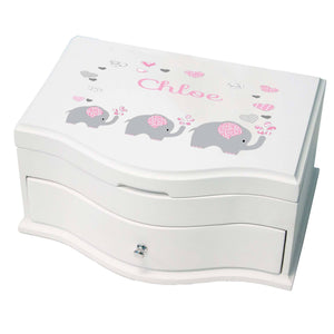 Princess Girls Jewelry Box with Pink Elephant design