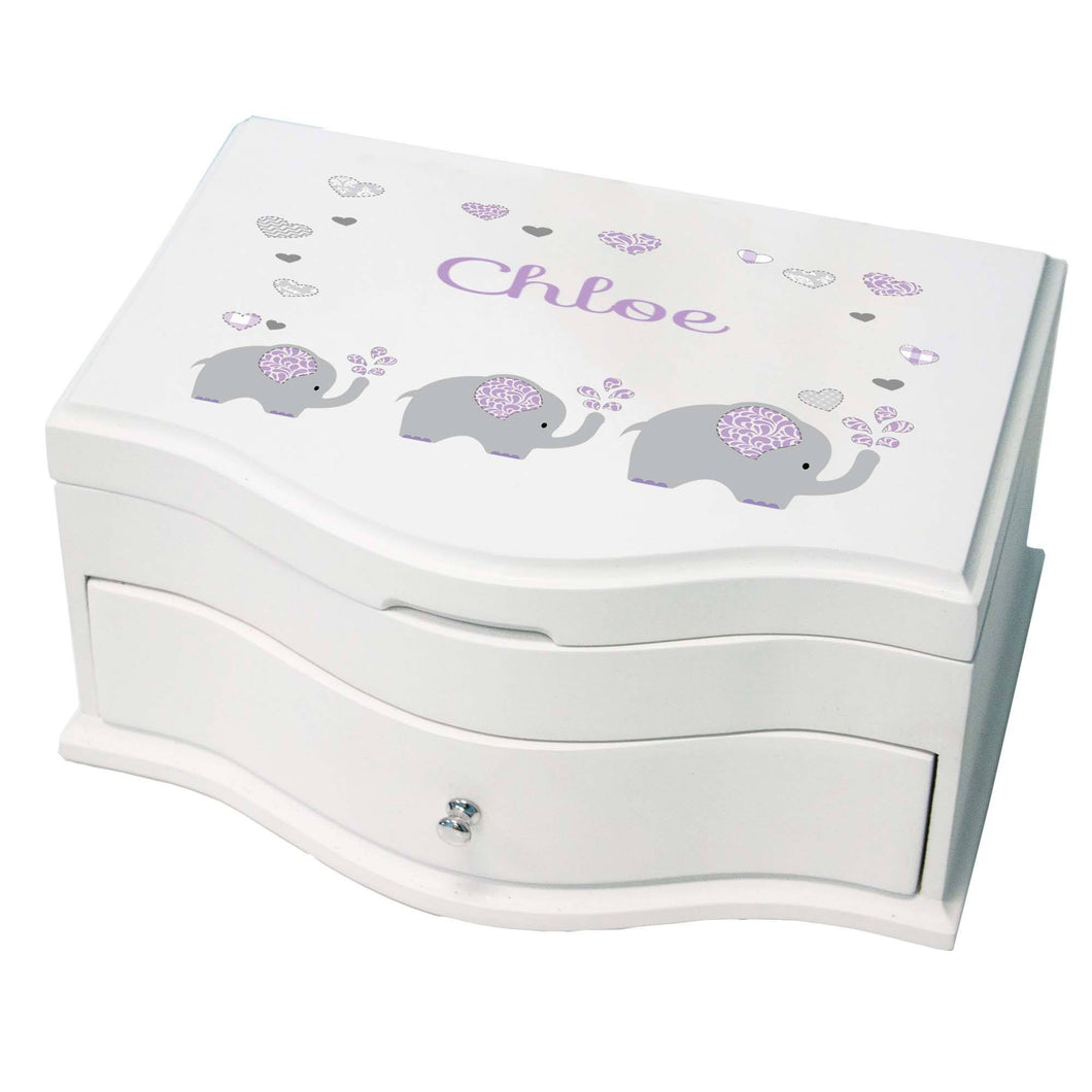 Princess Girls Jewelry Box with Lavender Elephant design