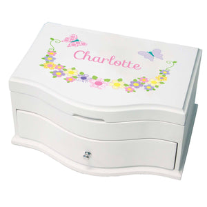 Princess Girls Jewelry Box with Pastel Butterflies design