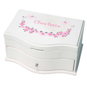 Princess Girls Jewelry Box with Pink and Gray Butterflies design