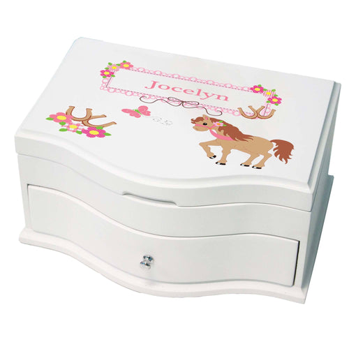 Princess Girls Jewelry Box with Ponies Prancing design