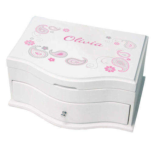 Princess Girls Jewelry Box with Paisley Pink Gray design