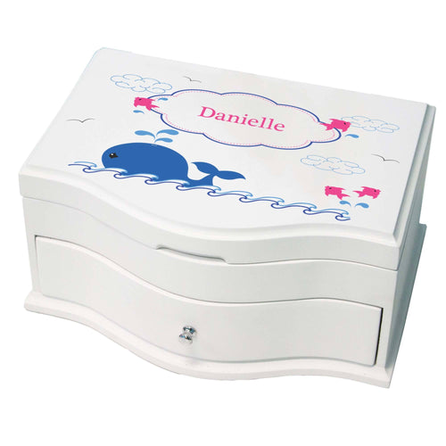 Princess Girls Jewelry Box with Pink Whale design