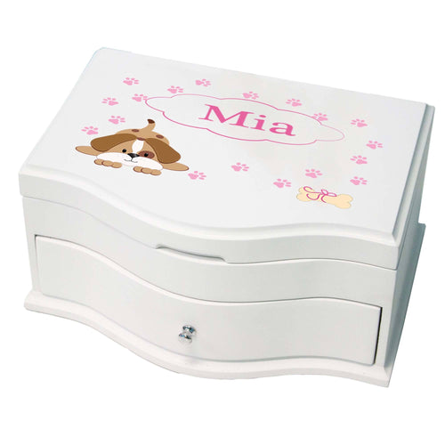 Princess Girls Jewelry Box with Pink Puppy design