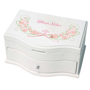 Princess Girls Jewelry Box with Hc Blush Floral Garland design