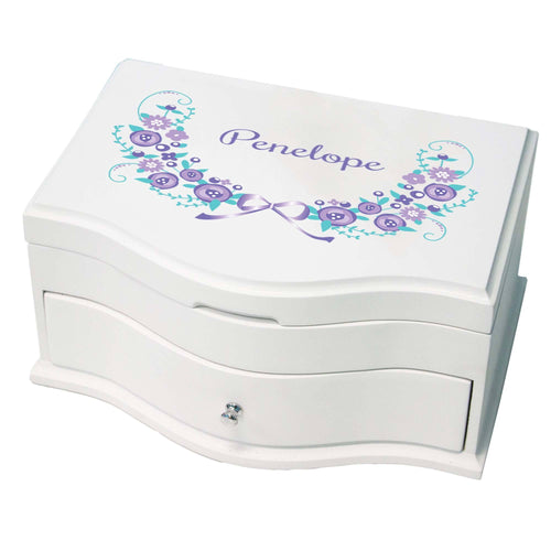 Princess Girls Jewelry Box with Lavender Floral Garland design
