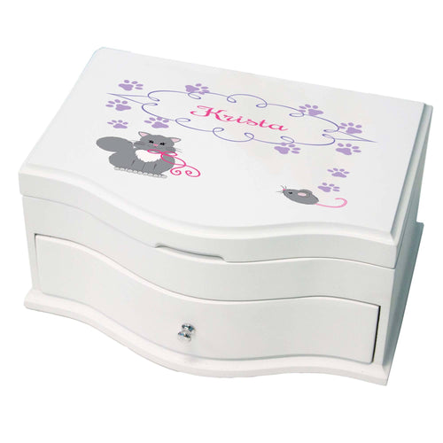 Princess Girls Jewelry Box with Kitty Cat design