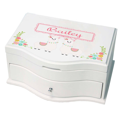 Princess Girls Jewelry Box with Alpaca Llama design