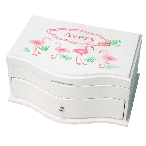 Princess Girls Jewelry Box with Palm Flamingo design