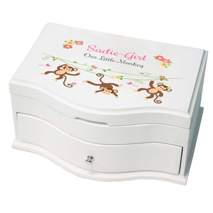 Girls pink monkey jewelry box