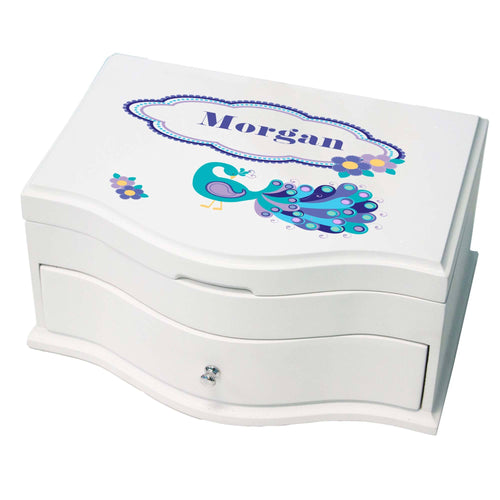 Princess Girls Jewelry Box with Peacock design