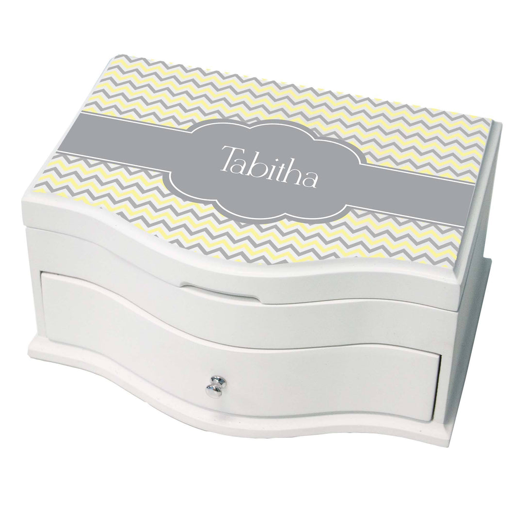 Personalized Chevron Gray And Lt Princess Jewelry Box