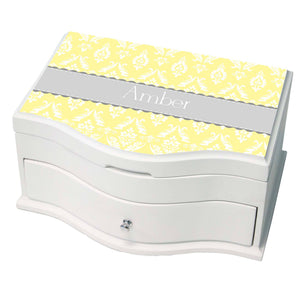 Personalized Damask Yellow With Gray Princess Jewelry Box