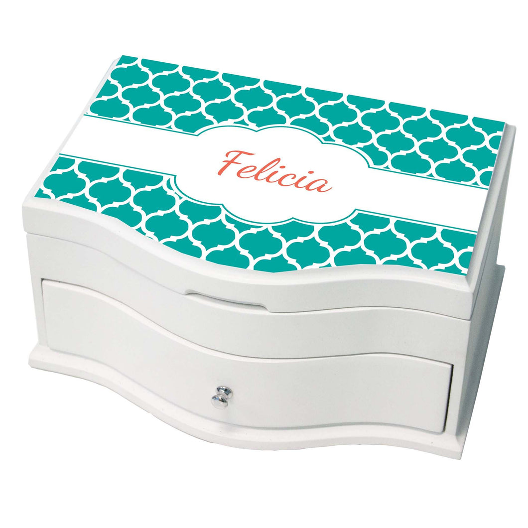 Personalized Moroccan Teal Princess Jewelry Box