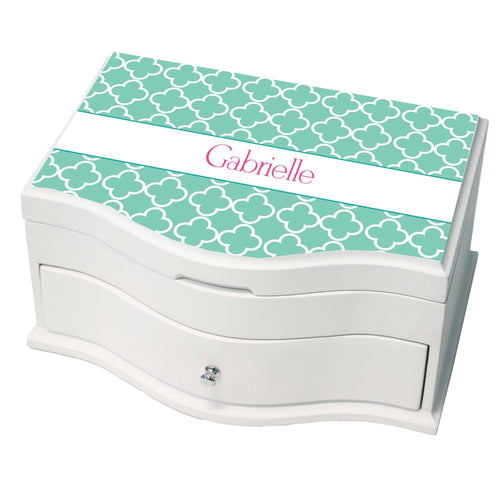 Personalized Tiles Aqua Princess Jewelry Box