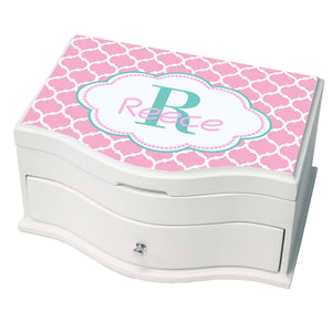 Personalized Moroccan Pink White And Princess Jewelry Box