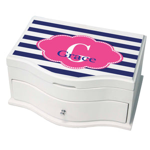 Personalized Blue Stripes W Hot Princess Jewelry Box