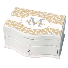 Personalized Beige And White Squares Princess Jewelry Box