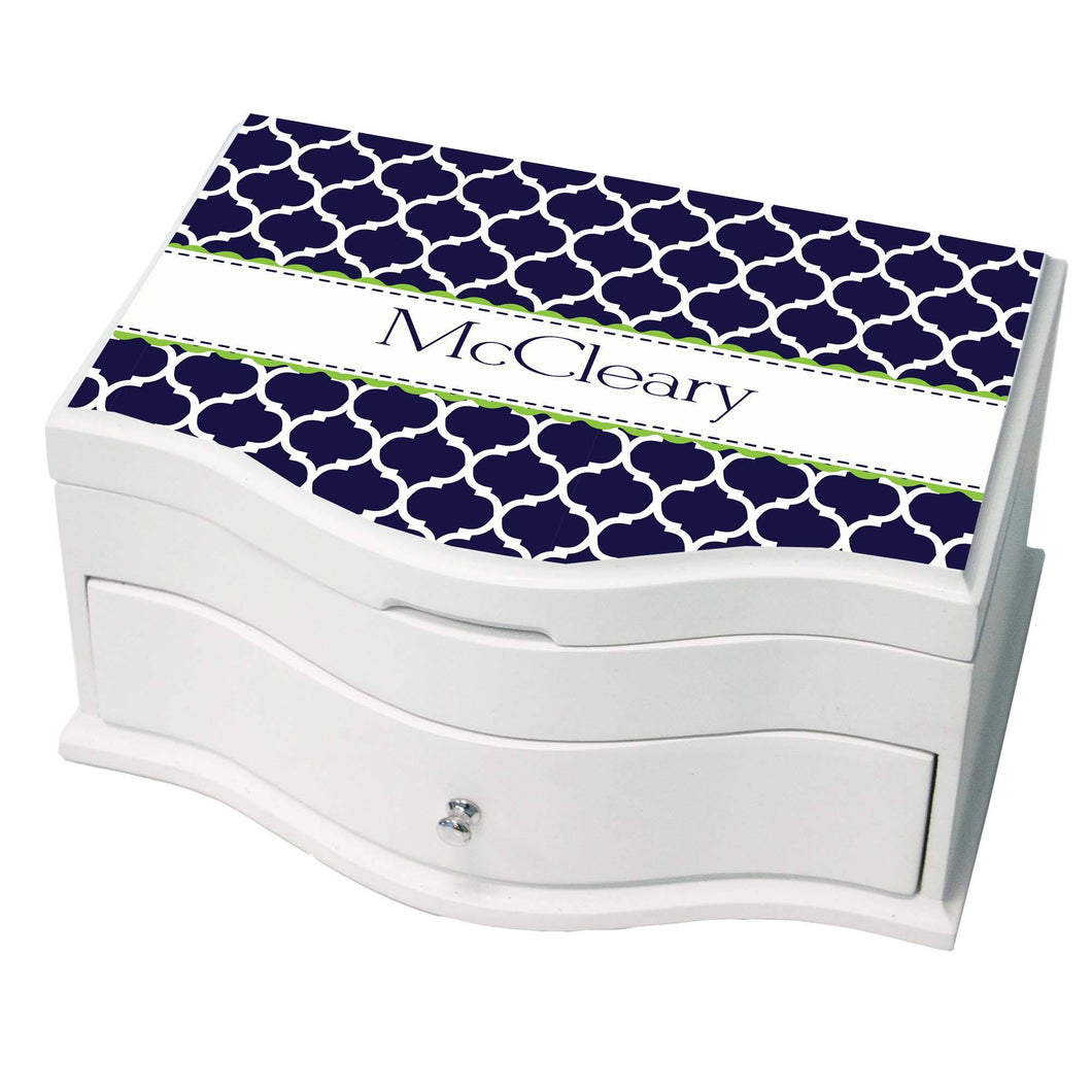 Princess Girls Jewelry Box with Navy Moroccan W Lime design