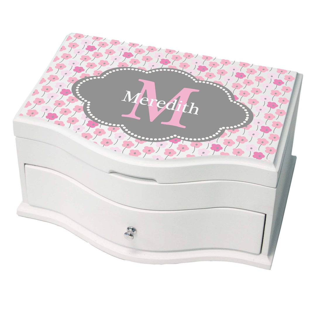 Personalized Pink And Gray Princess Jewelry Box