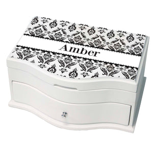 Personalized Black And White Damask Princess Jewelry Box