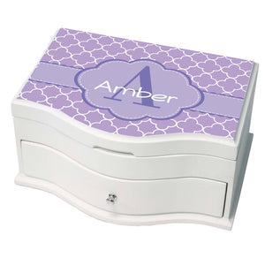 Personalized Lavender Florets Princess Jewelry Box