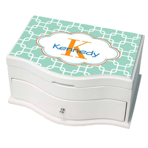 Personalized Aqua Squares W Coral Princess Jewelry Box