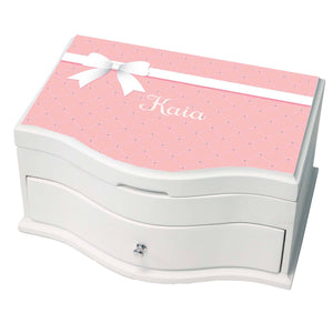 Princess Girls Jewelry Box with Pink Bow design
