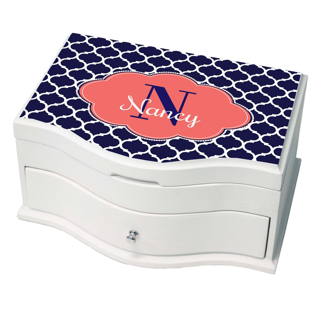 Personalized Navy Moroccan Coral Princess Jewelry Box