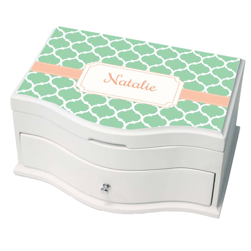 Personalized Mint Moroccan Princess Jewelry Box