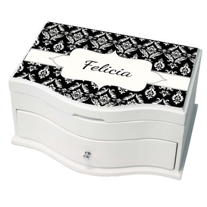 Personalized Black Damask Design Princess Jewelry Box