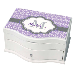 Princess Girls Jewelry Box with Lavender Quatrefoil W Grey design