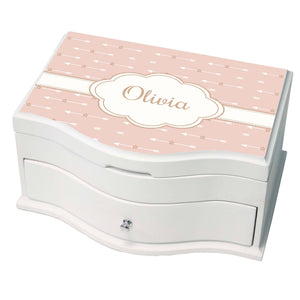 Personalized Blush Arrows Princess Jewelry Box