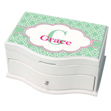 Personalized Mint Quatrefoil W Pink Princess Jewelry Box