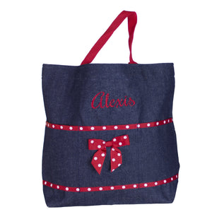 Embroidered Red Denim Tote