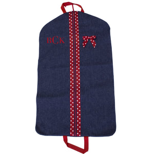 Embroidered Red Denim Garment Bag