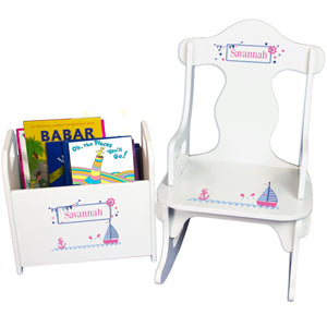 Personalized Pink Sailboat Book Caddy And Puzzle Rocker baby gift set