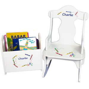 Personalized Crayon Book Caddy And Puzzle Rocker baby gift set